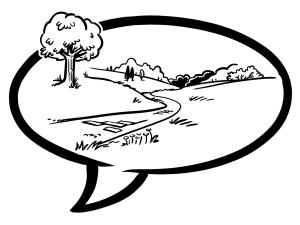 Sprechblase mit Landschaft