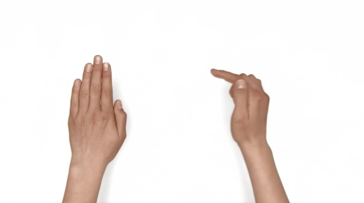 A hand pointing at the other in a video with hands