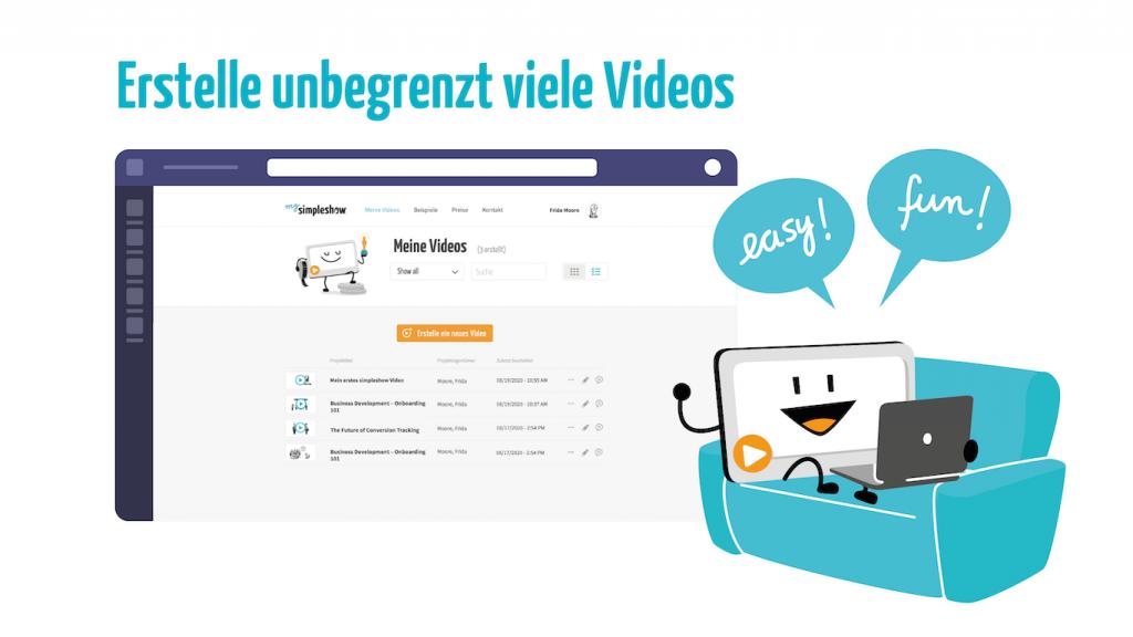Erstelle unbegrenzt viele Videos mit dem simpleshow video maker