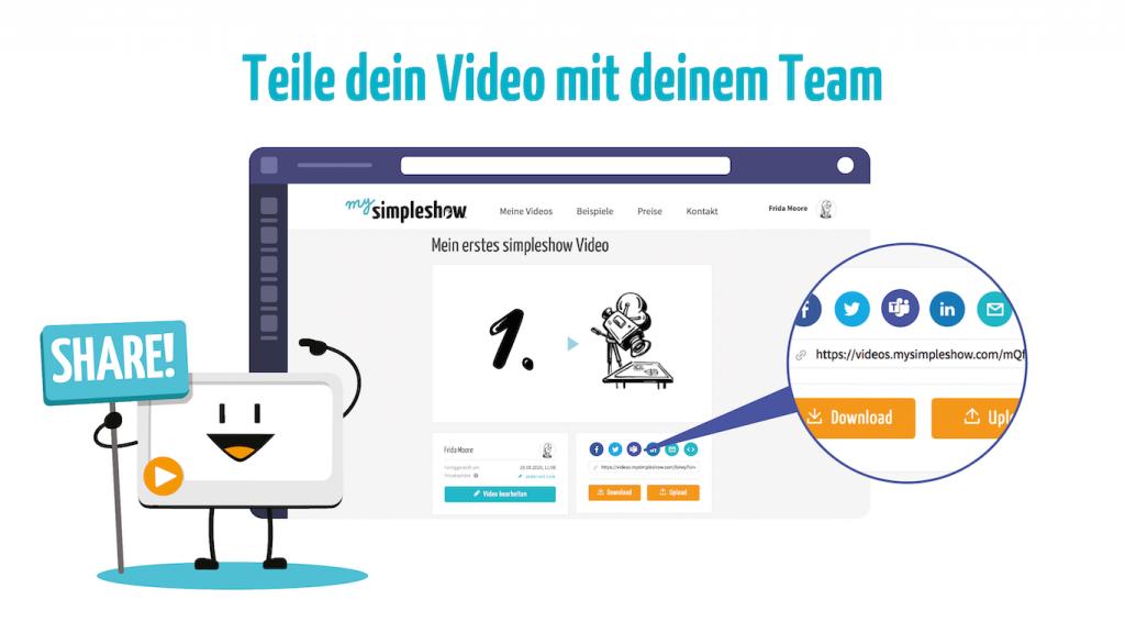 Teile dein Video mit deinem Team