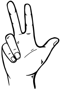 Drei zeigt eine Hand