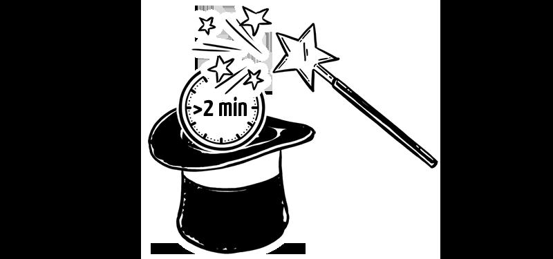Zauberhut und Zauberstab mit Uhr