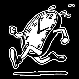 Rennende Uhr