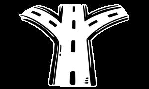 Straße mit Abzweigungen