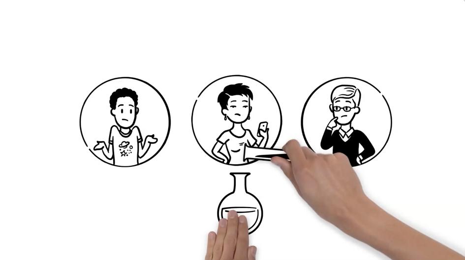 drei Charaktere Hände mischen Flüssigkeiten